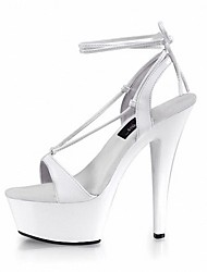 Women's Sandals Formal Shoes Summer PU Dress Party & Evening Satin Flower Buckle Stiletto Heel White Black 5in & over