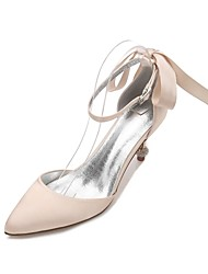 cheap -Women's Shoes Satin Spring / Summer Comfort / D'Orsay & Two-Piece / Basic Pump Wedding Shoes Pointed Toe Rhinestone / Bowknot / Sparkling