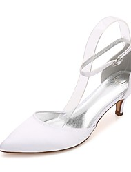 Women's Wedding Shoes Comfort D'Orsay & Two-Piece Basic Pump Ankle Strap Spring Summer Satin Wedding Dress Party & Evening Rhinestone