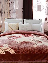 Недорогие -Плюш Растения Хлопчатобумажная ткань одеяла