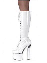 cheap -Women's Shoes PU Winter Fashion Boots Boots Spool Heel Round Toe Knee High Boots Zipper for Party & Evening White Black