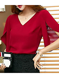 Women's Going out Simple Blouse,Solid V Neck Half Sleeves Acrylic