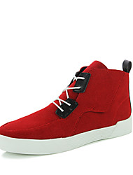 cheap -Men's Athletic Shoe Comfort Fall Winter Leatherette Athletic Lace-up Flat Heel Black/Red Black/White Blue Yellow Flat