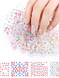 cheap -20Sheets Beauty Flower Design Nail Stickers Colorful Mixed Decals Manicure Tips 3D Nail Art Decorations Charm Tools