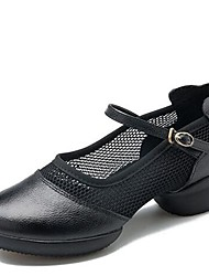 abordables -Femme Baskets de Danse Filet / Cuir Nappa Basket Talon Bas Chaussures de danse Noir / Rouge