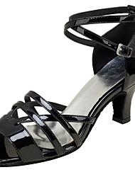 "cheap -Women's Latin Real Leather Sandal Performance Criss-Cross Cuban Heel Black 2"" - 2 3/4"" Customizable"