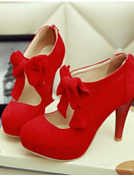 Women's Shoes PU Summer Comfort Heels For Casual Black Beige Red