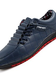 Men's Sneakers Comfort Light Soles Leatherette Fall Winter Casual Lace-up Low Heel Coffee Dark Blue Black Under 1in