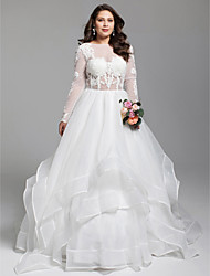Ball Gown Bateau Neck Court Train Organza Tulle Wedding Dress with Appliques Tiered by LAN TING BRIDE®