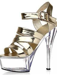 cheap -Women's Sandals Formal Shoes Summer PU Dress Party & Evening Buckle Lace-up Stiletto Heel Gold Silver 5in & over