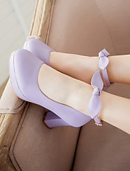 Women's Shoes PU Spring Summer Comfort Heels Chunky Heel Round Toe For Casual White Light Purple