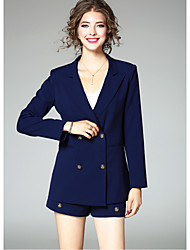 Women's Going out Simple Fall Suit,Solid Shirt Collar Long Sleeve Regular Polyester
