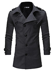 Men's Daily Going out Vintage Sexy Winter Fall Coat,Solid V Neck Long Sleeve Long Nylon