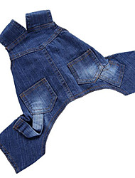 cheap -Dog Jumpsuit Dog Clothes Jeans Denim Costume For Pets Men's / Women's Casual / Daily