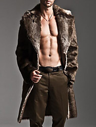 Men's Plus Size Casual/Daily Simple Fall Winter Fur Coat,Solid Shirt Collar Long Sleeve Long Faux Fur
