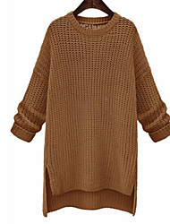 cheap -Women's Daily Long Pullover,Solid Round Neck Long Sleeves Cotton Winter Fall Medium Micro-elastic