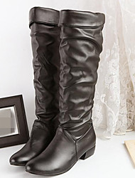 Women's Shoes PU Fall Winter Comfort Boots Low Heel Round Toe For Casual White Black