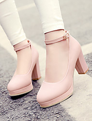 cheap -Women's Shoes PU Spring Comfort Heels Chunky Heel Round Toe for Casual White Light Purple Pink