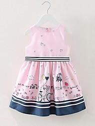 Girl's Striped Print Cartoon Dress,Cotton Summer Sleeveless