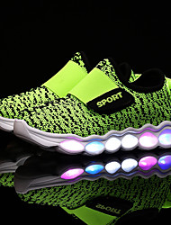 Boys' Athletic Shoes Light Up Shoes Tulle Spring Fall Casual Magic Tape Flat Heel Light Blue Green Navy Blue Black Flat