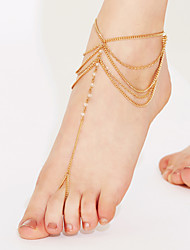 cheap -Crystal Crystal Anklet Barefoot Sandals - Women's White Golden Tassel Vintage Cute Party Work Casual Multi Layer Bikini Beaded Jewelry