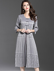 Damen Hülle Kleid-Ausgehen Niedlich Druck Rundhalsausschnitt Midi 3/4 Ärmel Polyester Herbst Mittlere Hüfthöhe Mikro-elastisch Mittel