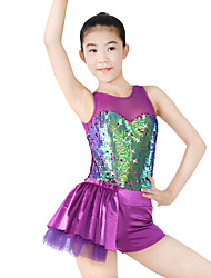 cheap -Jazz Unitards Women's Performance Polyester Spandex Sequined Sequin Draping Paillette Sleeveless Natural Leotard / Onesie