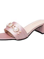 cheap -Women's Sandals Light Soles Summer PU Casual Dress Imitation Pearl Block Heel Blushing Pink Green Black 2in-2 3/4in