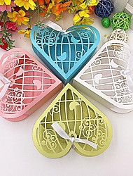 cheap -Heart Pearl Paper Favor Holder with Ribbons Favor Boxes - 50