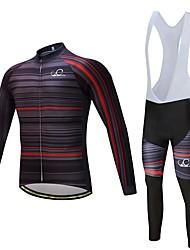 Fahrradtrikot mit Trägerhosen Unisex Langarm Fahhrad Kleidungs-Sets warm halten Dick Polyester LYCRA® Silikon Vlies Winter