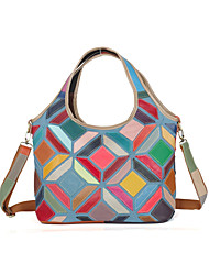 cheap -Women's Bags Cowhide Shoulder Bag Split Joint Plaid for Event/Party Casual Outdoor All Seasons Rainbow