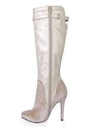 cheap -Women's Shoes Velvet Winter Fashion Boots Boots Round Toe Knee High Boots Buckle for Dress Party & Evening Ivory