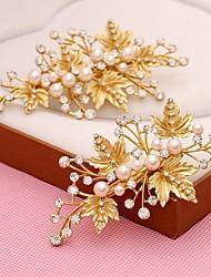 Imitation Pearl Rhinestone Alloy Headpiece-Wedding Special Occasion Birthday Party/ Evening Flowers Hair Clip 2 Piece