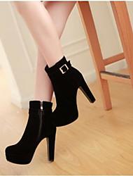 Feminino Sapatos Couro Ecológico Outono Conforto Botas Para Casual Preto Vermelho Azul