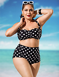 cheap -Women's Ruched Top High Waist Plus Size Swimsuit
