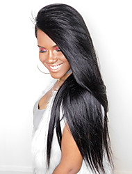cheap -CARA Hair 250% Density Lace Front Human Hair Wigs Silky Straight Non-remy Hair Natural Black Color Medium Cap Size