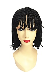14inch Box braids bob wig natural wig Box Braid Wig with Bangs synthetic braiding hair wigs 1pc