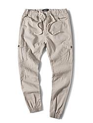 Homme Mignon simple Chinoiserie Taille Normale non élastique Skinny Chino Pantalon,Droite Slim Plissé Couleur Pleine