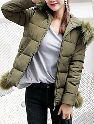 cheap -Women's Short Padded Coat,Cute Daily Going out Plus Size Solid Letter-Polyester Polypropylene Long Sleeves
