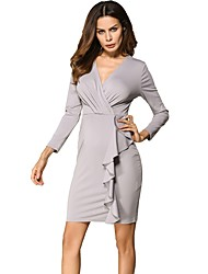 Women's Daily Holiday Work Vintage Casual Sheath Dress,Solid Deep V Above Knee Long Sleeves Cotton Polyester Summer High Rise Stretchy