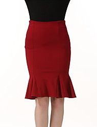 cheap -Women's Daily Club Holiday Going out Above Knee Skirts,Casual Sexy Bodycon Polyester Solid Spring Summer Fall