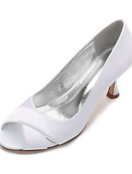 baratos -Mulheres Sapatos Cetim Primavera / Verão Plataforma Básica / Conforto Sapatos De Casamento Salto Sabrina / Salto Baixo / Salto Agulha