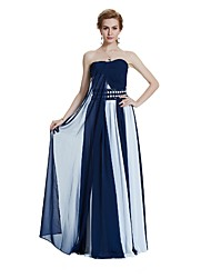 cheap -A-Line Strapless Floor Length Chiffon Formal Evening Wedding Party Dress with Draping Pearl Detailing Sash / Ribbon by W.JOLI