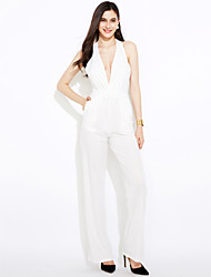 cheap -Women's Daily Club Casual Sexy Solid Halter Jumpsuits,Wide Leg Sleeveless Summer Polyester