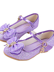Girls' Flats Comfort Novelty Flower Girl Shoes Synthetic Microfiber PU Fall Winter Casual Dress Bowknot Buckle Flat Heel Purple Gold Flat