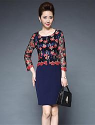 levne -Dámské Pouzdro Šaty - Jednobarevné Výšivka, Tisk