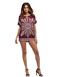 Women's Holiday Going out Casual/Daily Vintage Street chic Loose Dress,Print Round Neck Mini Short Sleeve Polyester Summer High Rise
