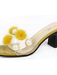 Women's Sandals Comfort Spring Summer PU Casual Hook & Loop Low Heel White Black Gray Yellow Under 1in
