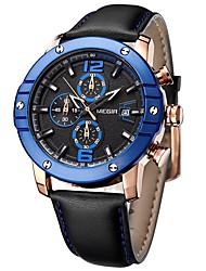 Недорогие -Муж. Нарядные часы Модные часы Китайский Кварцевый Крупный циферблат Натуральная кожа Группа На каждый день Cool Черный