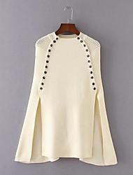 Standard Cloak / Capes Da donna-Per uscire Casual Semplice Romantico Tinta unita Rotonda Mezza manica Cotone Altro Primavera Autunno